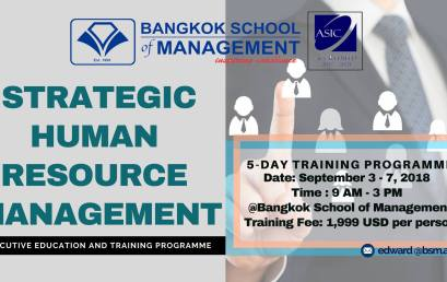 Date: September 3rd – 7th 2018  Training Programme: Strategic HR Management