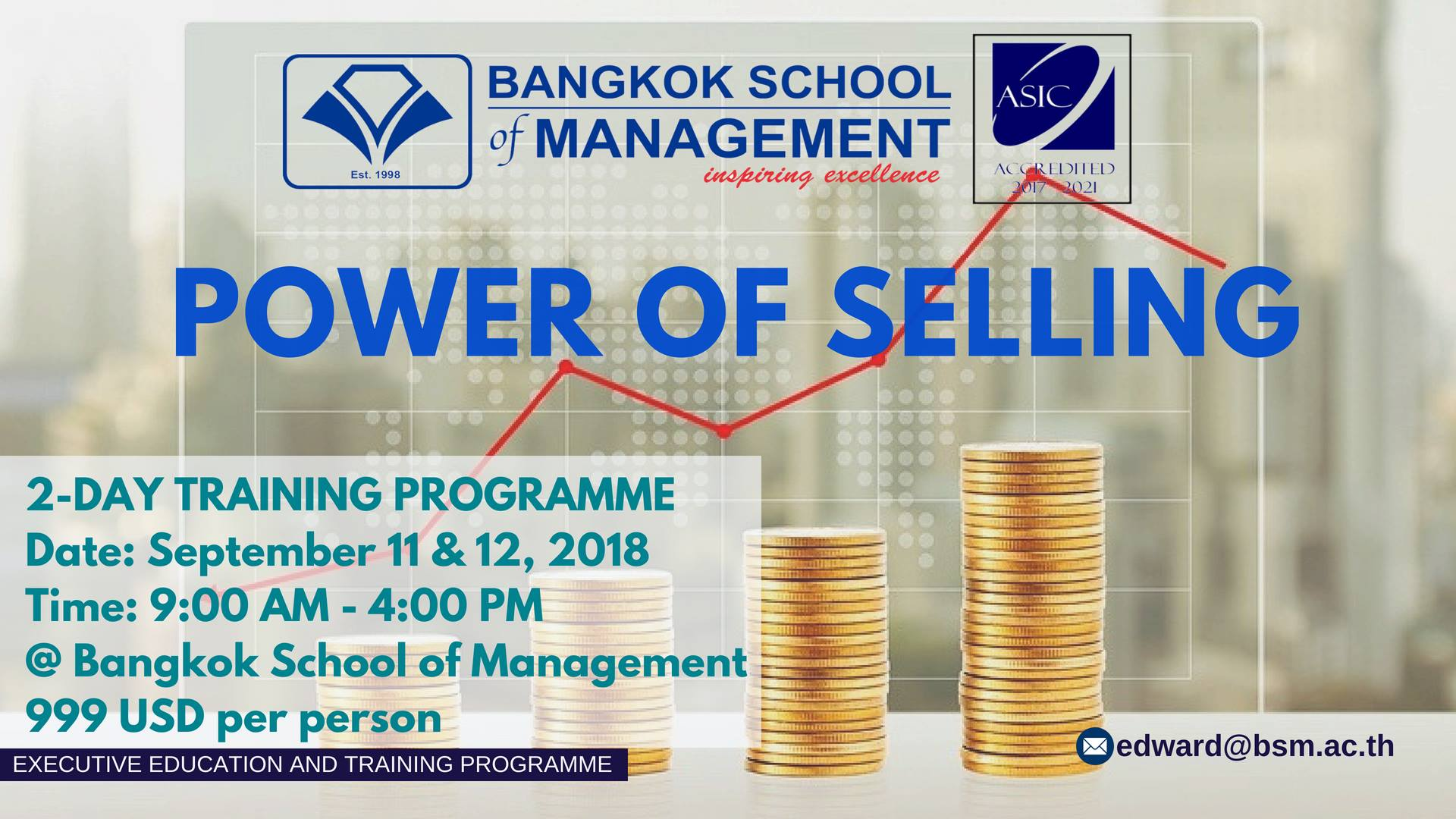 Date: September 11th &#8211; 12th 2018 </br></br> Training Programme: Power of Selling