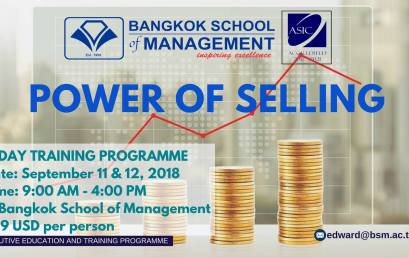 Date: September 11th – 12th 2018  Training Programme: Power of Selling