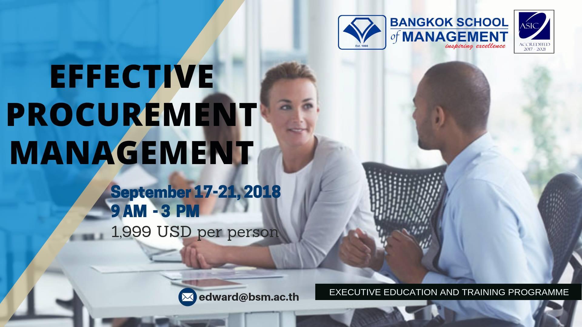 Date: September 17th – 21st  Training Programme: Effective Procurement Management