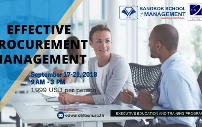 Date: September 17th – 21st  Training Programme: Effective Procurement Management