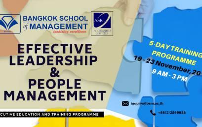 Date: November 19 – 23 Effective Leadership & People Management