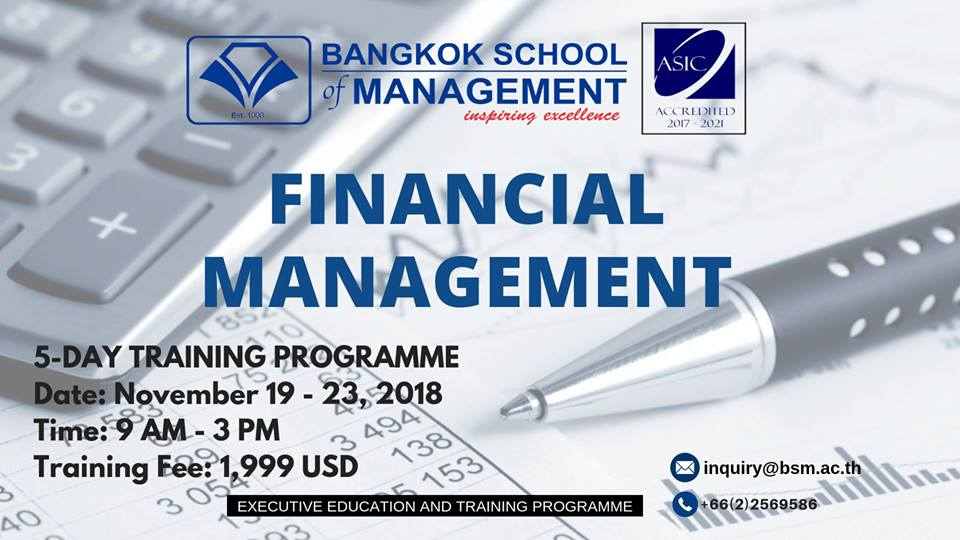 Date: November 19 – 23 Financial Management