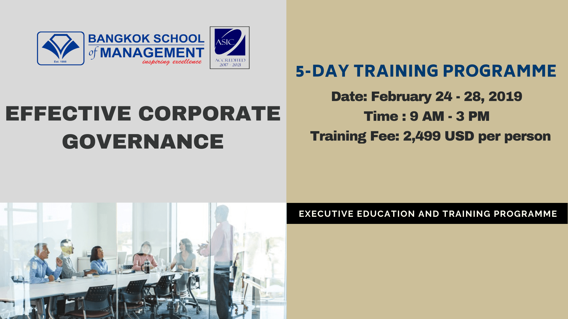 Date: February 24 – 28, 2019   Effective Corporate Governance