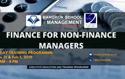 Date: January 31 & February 1, 2019  Finance for Non-Finance Managers