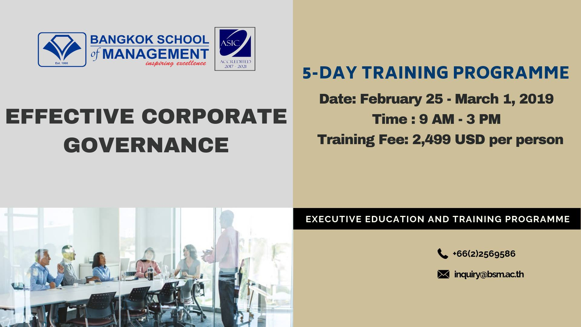Date: February 25 – March 1, 2019   Effective Corporate Governance