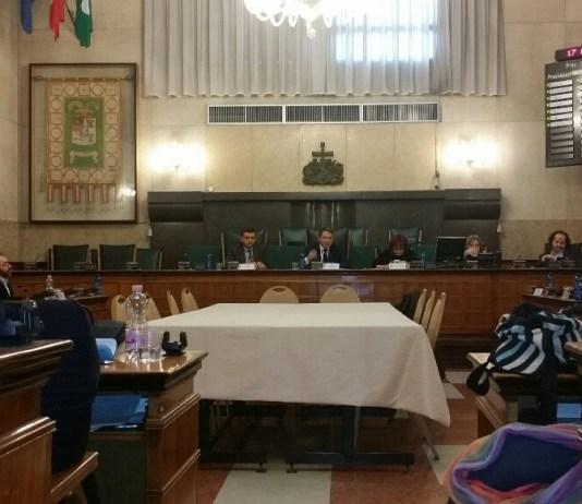 Seduta del consiglio provinciale di Brescia, al centro il presidente Pier Luigi Mottinelli - foto andrea tortelli - www.bsnews.it