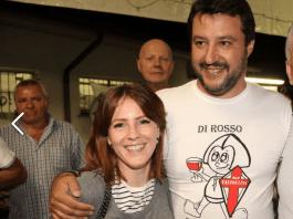 La segretaria della Lega Eva Lorenzoni (Gambara) con il leader del partito Matteo Salvini - www.bsnews.it
