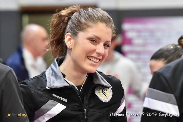 Dall'ara sorridente, per lei esordio dal primo minuto vincente in questa stagione. Foto ufficio stampa Millenium - www.bsnews.it