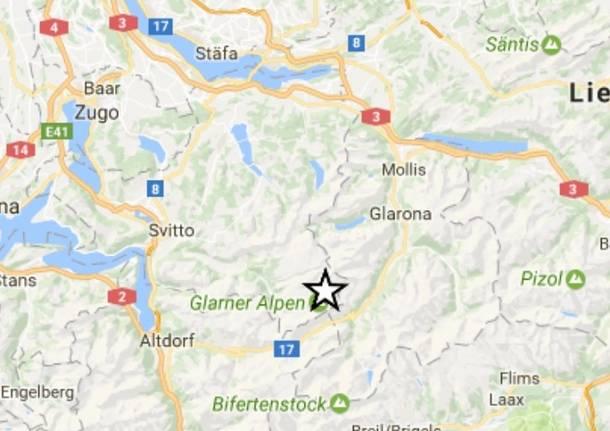 Epicentro terremoto Svizzera