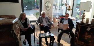 Il tavolo dei relatori del dibattito sulla Brescia del 2030: Rossana Bettinelli, Alessandro Belli e Alessandro Benevolo, foto Andrea Tortelli, www.bsnews.it