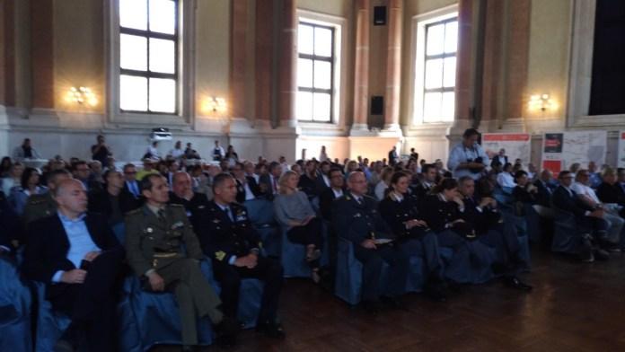 La platea della conferenza stampa di presentazione della Mille Miglia 2017, foto Andrea Tortelli, www.bsnews.it
