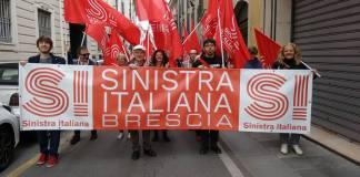La manifestazione di Sinistra Italia per il Primo Maggio a Brescia, foto da Facebook, www.bsnews.it