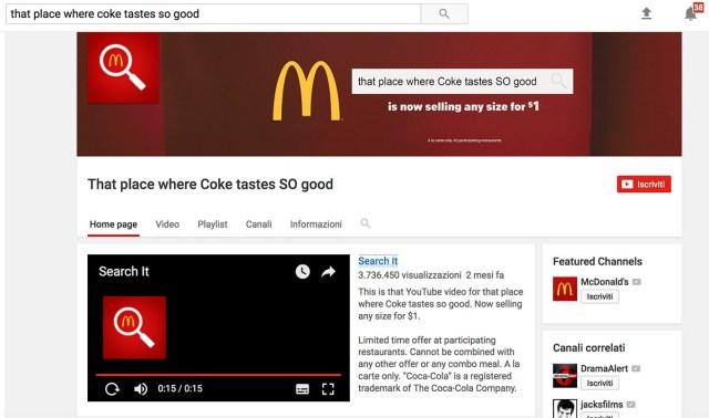 Lo spot di McDonald: Quel luogo in cui la Coca Cola è così buona (su Youtube)