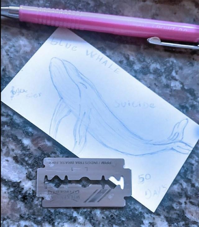 Un'immagine di Blue Whale postata su Facebook sotto l'hashtag #f58