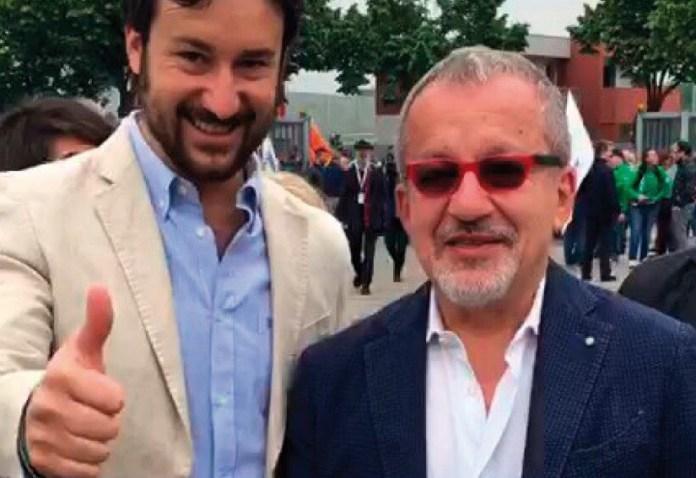 Il candidato sindaco Stefano Raccagni con Roberto Maroni