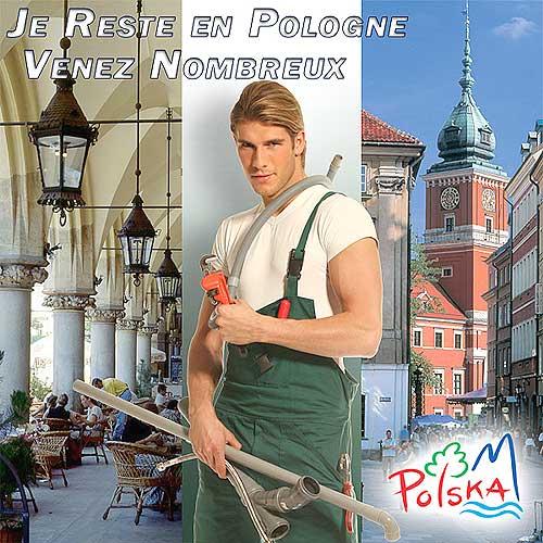 Un simpatico manifesto dell'ufficio del turismo polacco a Parigi, che mostra un bel idraulico polacco che invita i francesi a recarsi in Polonia, foto da web