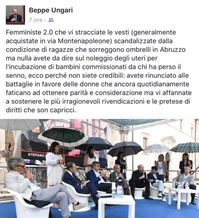Il post delle polemiche pubblicato dal consigliere Pd Beppe Ungari