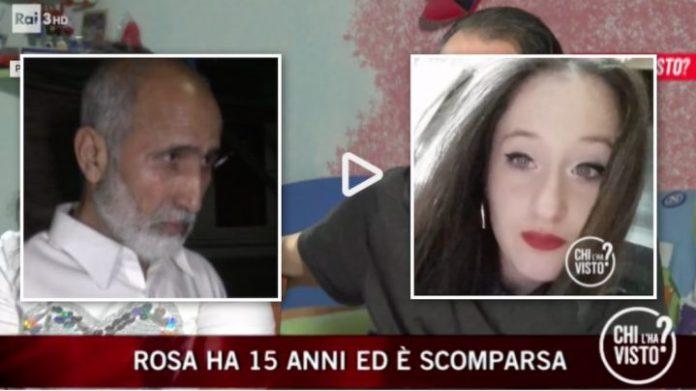 Un frame della trasmissione di RaiTre Chi l'ha visto: il servizio su Rosa Di Domenico