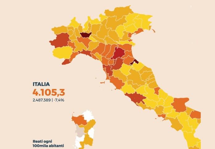 La malla dell'incidenza dei reati ogni 100mila abitanti in Italia, fonte Sole 24 Ore