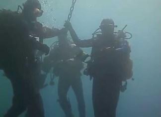 Sub nel lago di Garda per verificare che è successo alla chiatta spronfondata