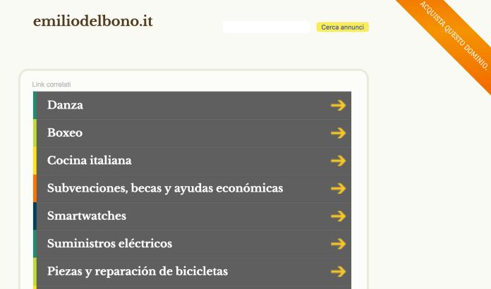 La schermata che compare ai visitatori di emiliodelbono.it