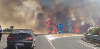 Incendio in autostrada, foto da web