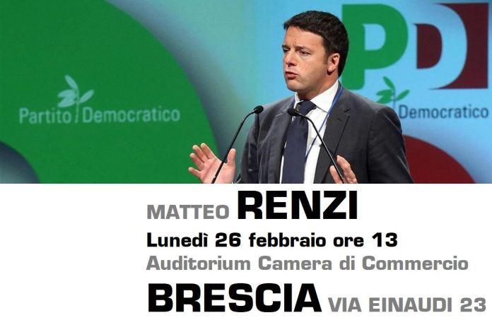 Matteo Renzi arriva a Brescia per la campagna elettorale