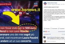 Il post con l'errore sulla pagina Facebook di Matteo Renzi