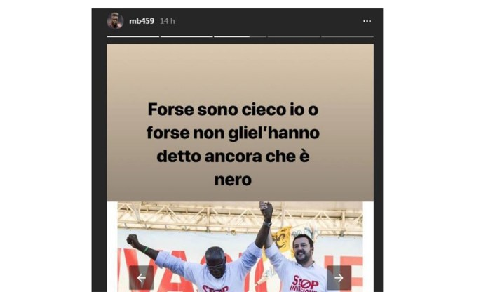 Il messaggio di Instagram di Mario Balotelli contro il senatore di colore leghista Iwobi