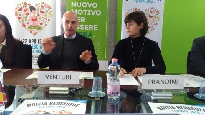 Florido Venturi e Giovanna Prandini alla presentazione del festival Brixia Benessere, foto Andrea Tortelli per BsNews.it
