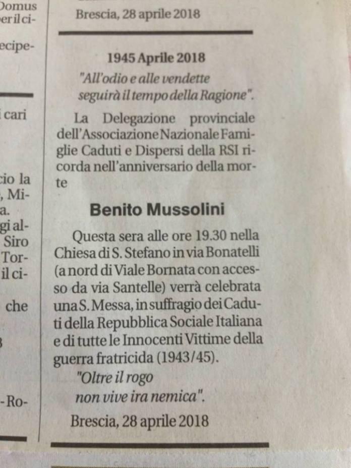 L'annuncio funebre a Benito Mussolini sul Giornale di Brescia