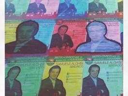 M;anerbio, alcuni cartelli che sostengono la candidatura di Samuele Alghisi