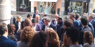 La presentazione della lista di Forza Italia in Corso Zanardelli, foto Andrea Tortelli