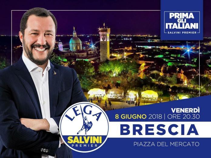 L'immagine pubblicata da Matteo Salvini sulla sua pagina ufficiale confonde Lonato con Brescia