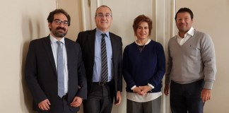 I vertici della nuova Centro Padane. Da sinistra: Andrea Daconto (vicepresidente), Fabrizio Scuri (presidente), Bruna Gozzi (consigliere), Roberto Salvadori (direttore)