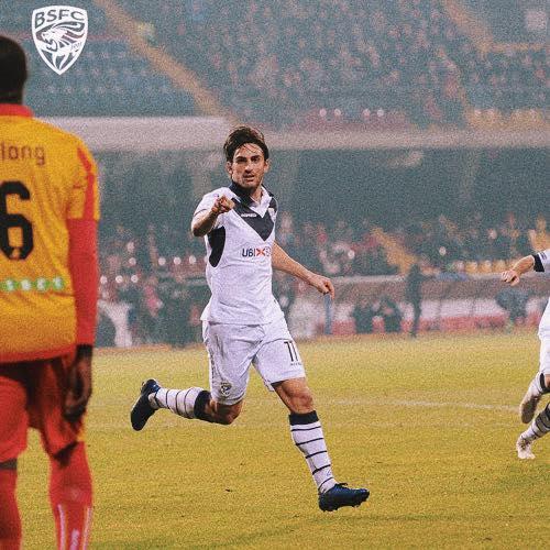 Torregrossa esulta dopo il momentaneo vantaggio - foto da pagina Facebook Brescia Calcio