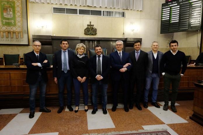 I consiglieri con delega, consiglio Provinciale in Broletto, Brescia 8 aprile 2019. Ph Fotolive Filippo Venezia