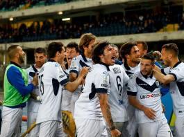 L'esultanza dei giocatori del Brescia - foto da pagina facebook Brescia Calcio