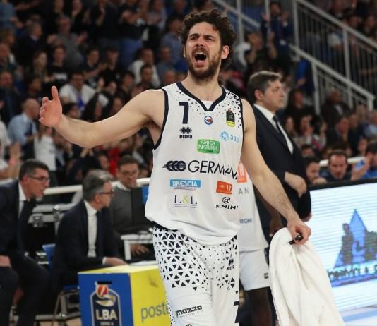 esultanza di Luca Vitali, Germani Basket Brescia - Virtus Segafredo Bologna partita di campionato LBA serie A, Brescia 24 aprile 2019. Ph Fotolive Simone Venezia