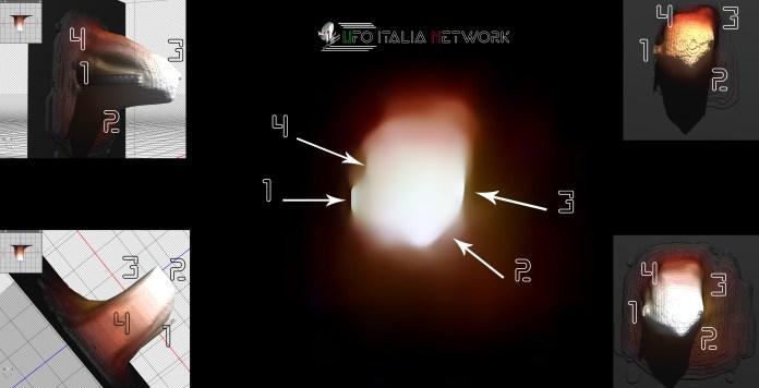 Un'immagine rielaborata dell'oggetto avvistato
