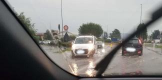 Maltempo, allagamenti stradali (Castegnato, foto Andrea Tortelli, BsNews.it)