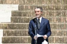 Il presidente della Repubblica Attilio Fontana durante la Visita del Presidente Sergio Mattarella al Capitolium Brescia 18.05.2021 Ph Christian Penocchio