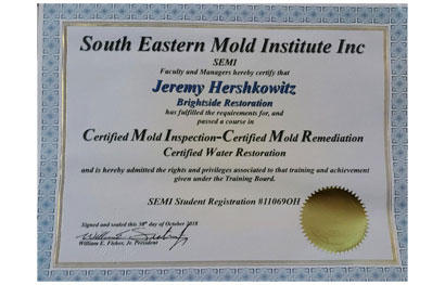 picture of a certificate for a certified mold inspection and water restoration for brightside mold remediation company in medina ohio