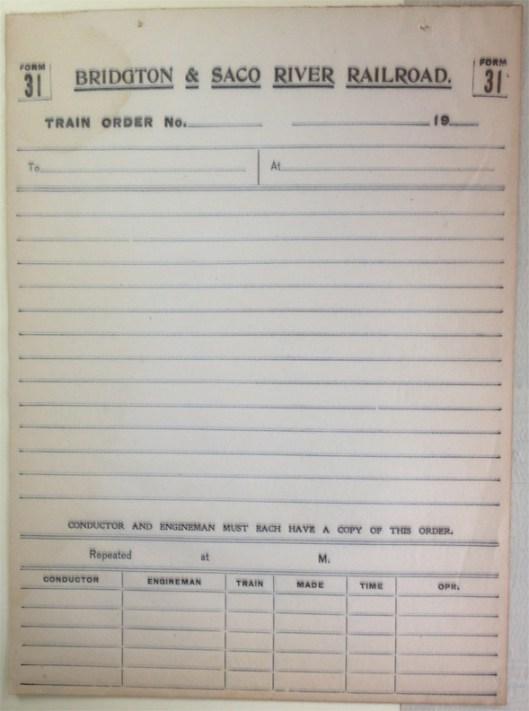 B&SR Train Order, Courtesy Bridgton Historical Society