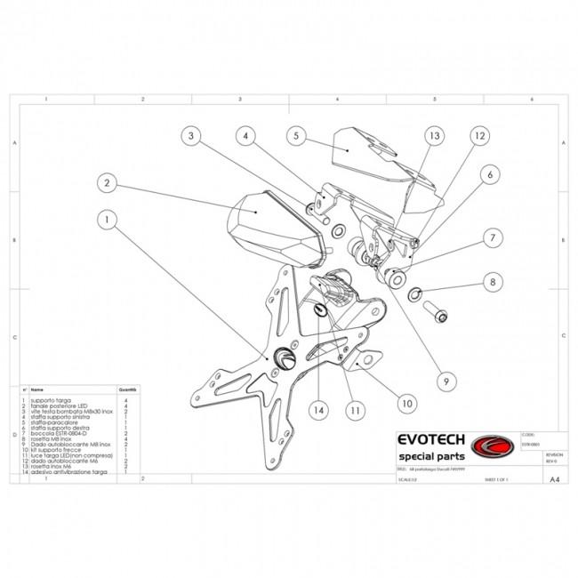 Support de plaque réglable Ducati 999 2010