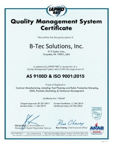 B Tec Solutions Inc AS 9100D ISO 9001 2015 Certificate 2019R 2 pdf 232x300