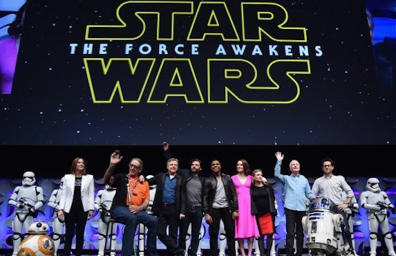 ANAHEIM, CA - APRIL 16:  (L-R) Producer Kathleen Kennedy, actors Peter Mayhew, Mark Hamill, Oscar Isaac, John Boyega, Daisy Ridley, Carrie Fisher, Anthony Daniels and director J.J. Abrams speak onstage during Star Wars Celebration 2015 on April 16, 2015 in Anaheim, California.  (Photo by Alberto E. Rodriguez/Getty Images for Disney) *** Local Caption *** Kathleen Kennedy;Peter Mayhew;Mark Hamill;Oscar Isaac;John Boyega;Daisy Ridley;Carrie Fisher;Anthony Daniels;J.J. Abrams