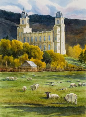 """Manti Temple, sheep ranch view"" watercolor giclee print on wc paper edition 50"