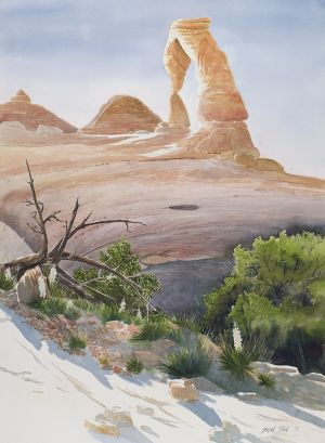 """Delicate Arch"" watercolor, off-set lithograph print edition 500 23""x17"" 100.00"